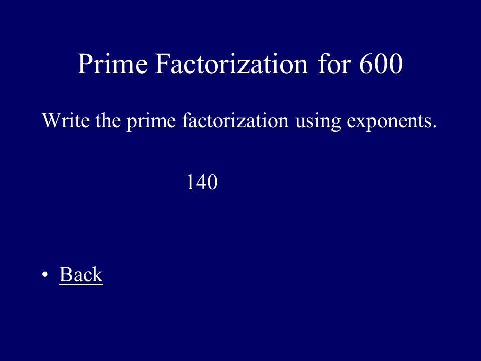 Prime Factorization for 600