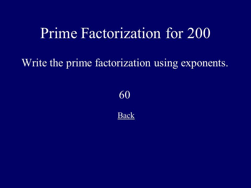 Prime Factorization for 200