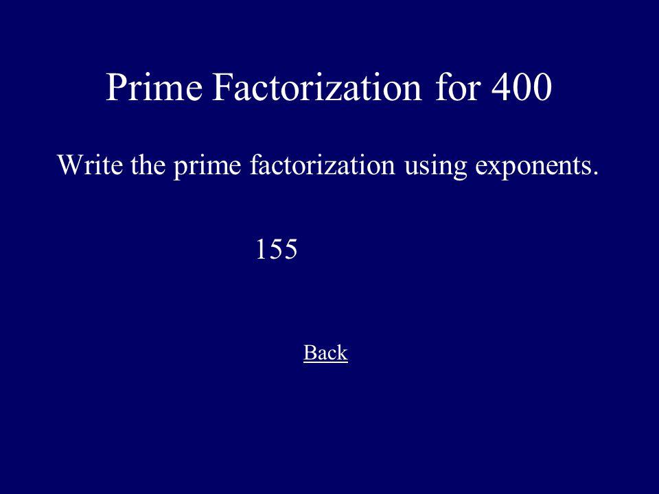Prime Factorization for 400