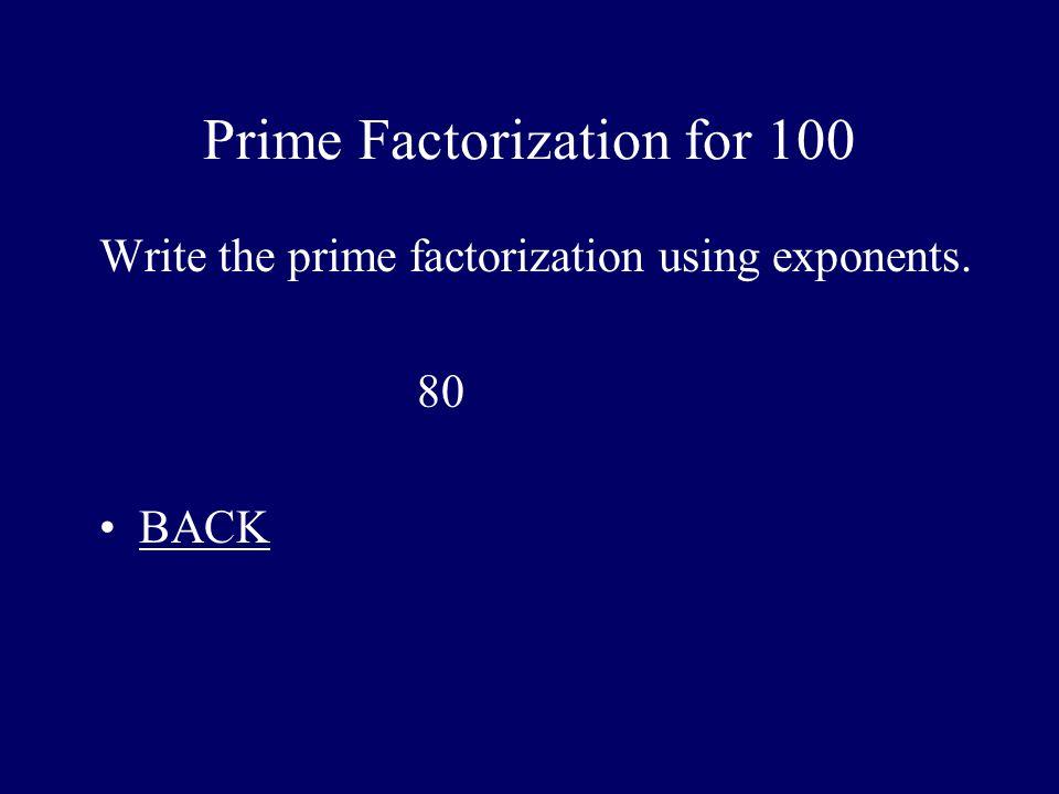 Prime Factorization for 100