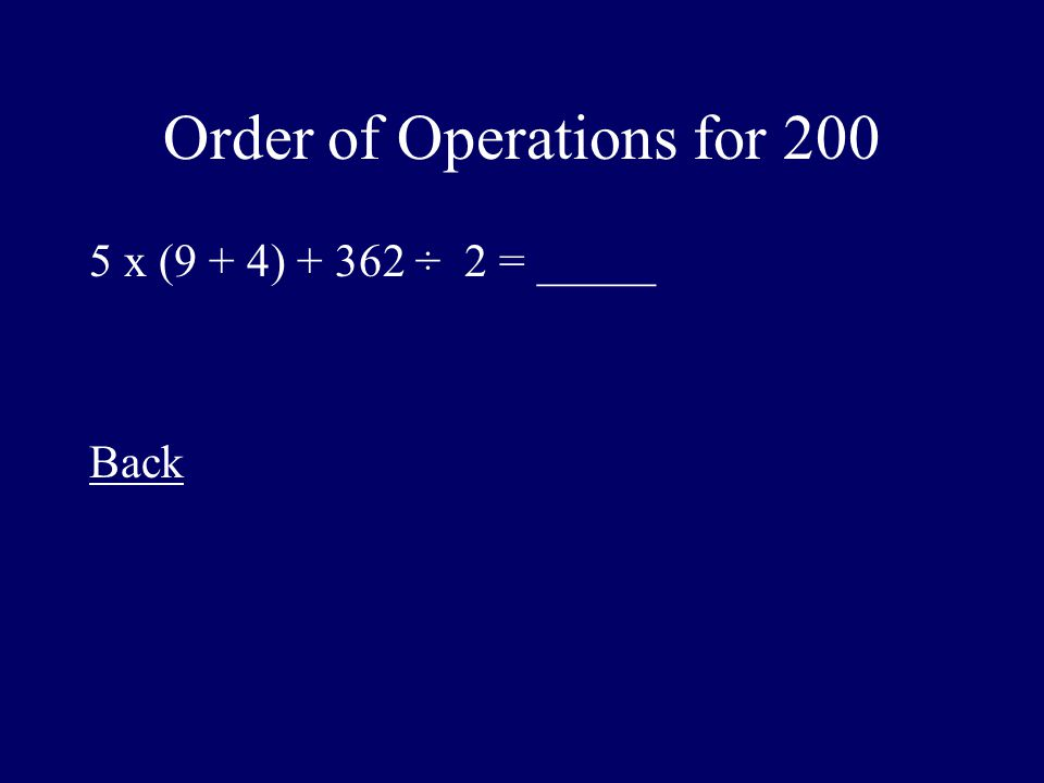 Order of Operations for 200