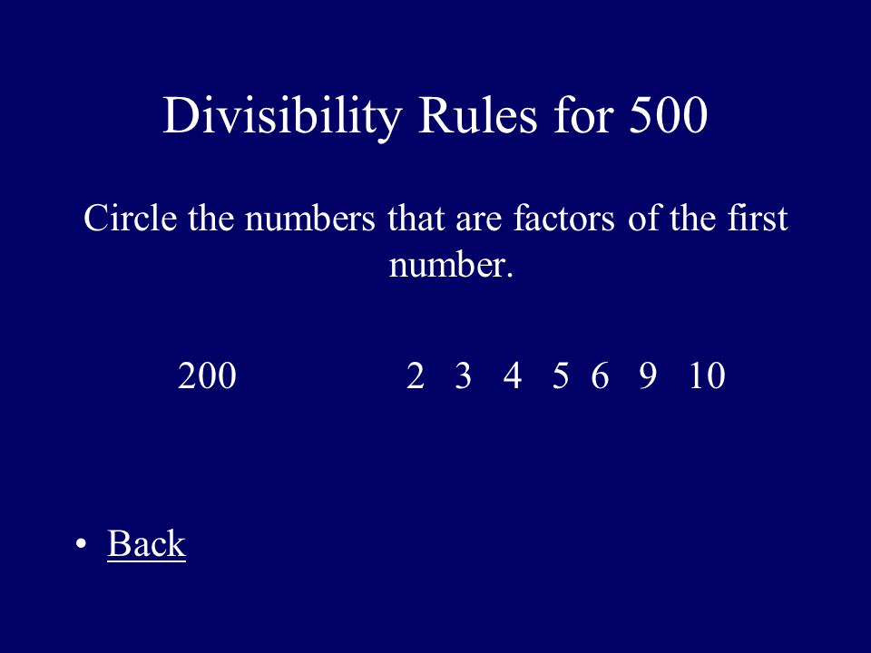 Divisibility Rules for 500