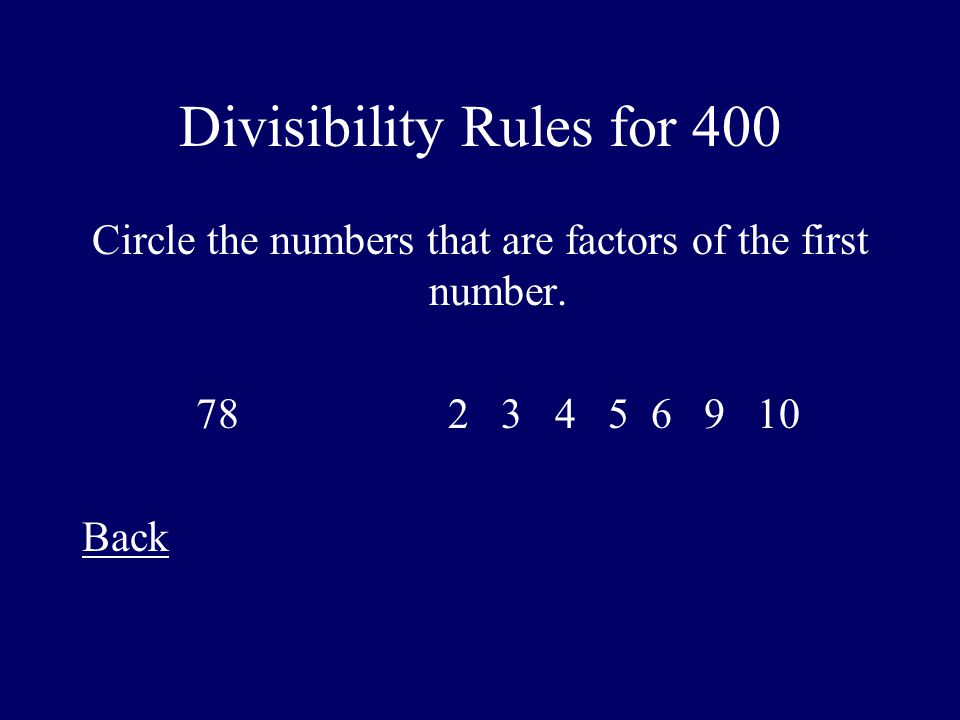 Divisibility Rules for 400