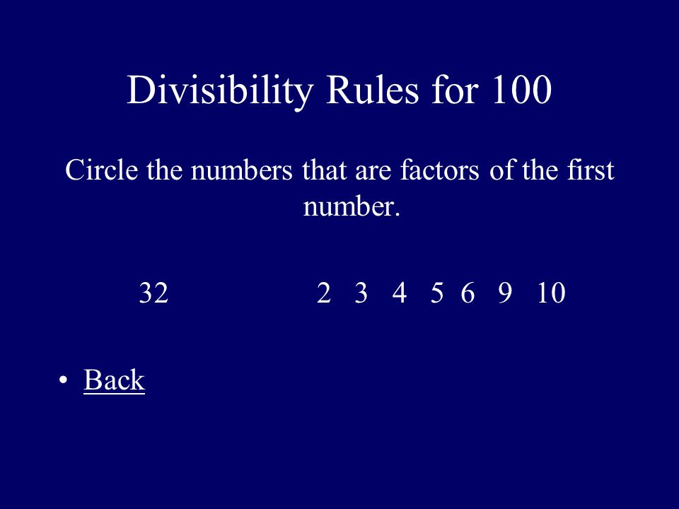 Divisibility Rules for 100