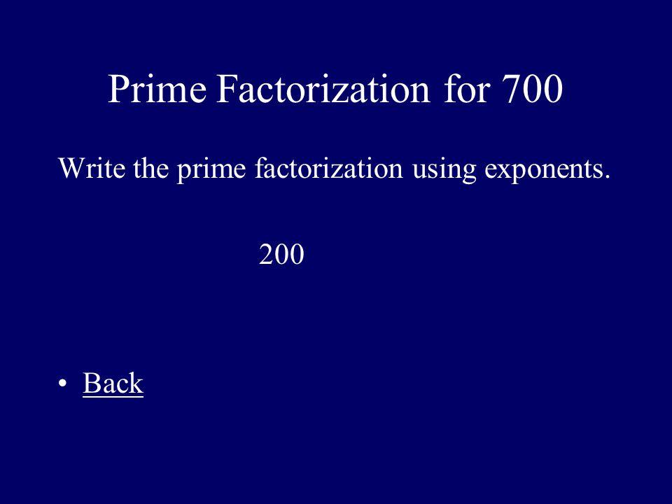 Prime Factorization for 700