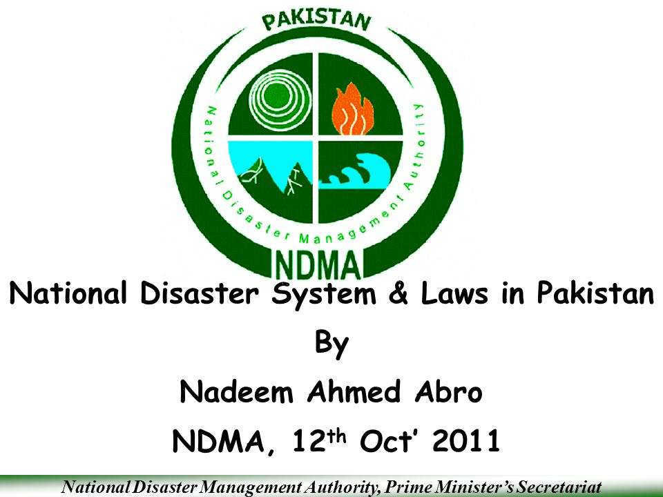 National Disaster System & Laws in Pakistan