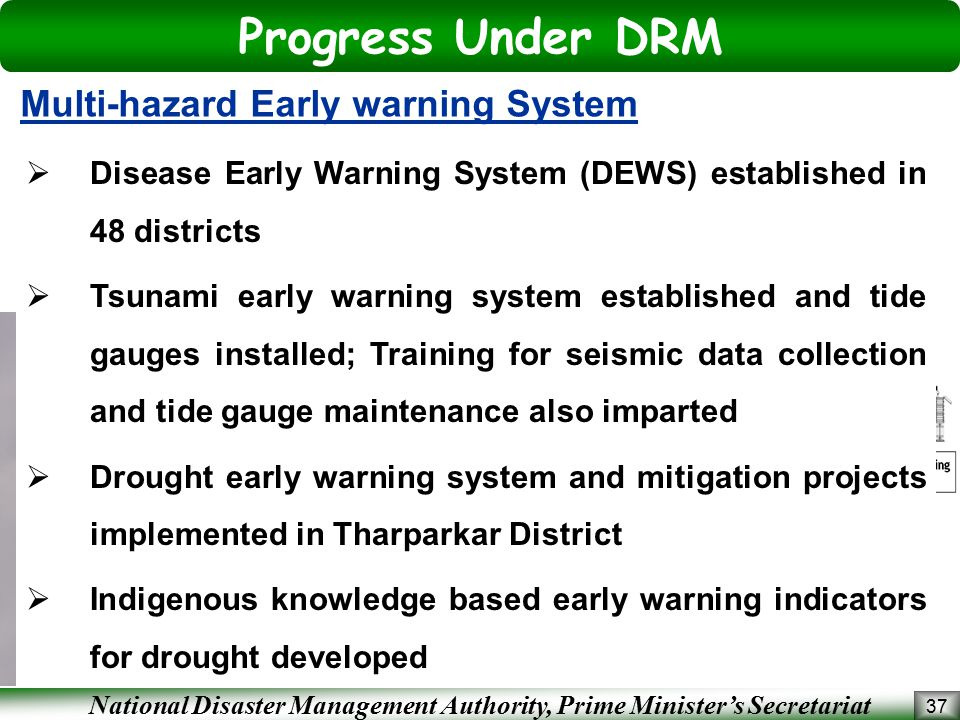 Progress Under DRM Multi-hazard Early warning System