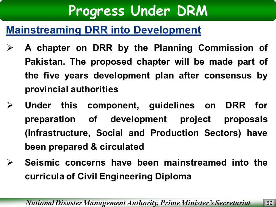 Progress Under DRM Mainstreaming DRR into Development