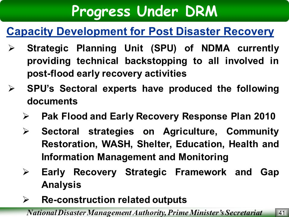 Progress Under DRM Capacity Development for Post Disaster Recovery