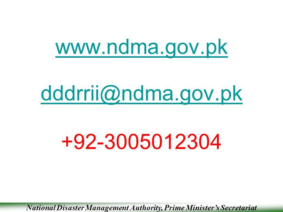 www.ndma.gov.pk dddrrii@ndma.gov.pk +92-3005012304