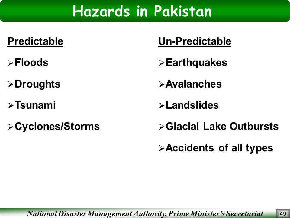Hazards in Pakistan Predictable Floods Droughts Tsunami