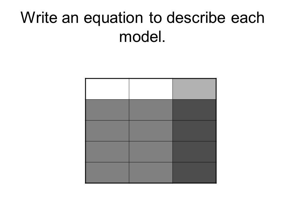 Write an equation to describe each model.