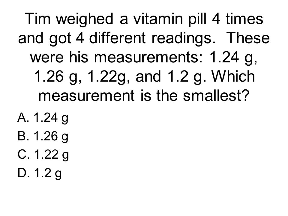 Tim weighed a vitamin pill 4 times and got 4 different readings