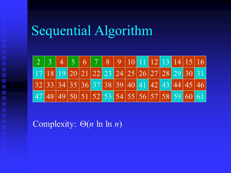Sequential Algorithm Complexity: (n ln ln n) 2 2 3 3 4 4 5 5 6 6 7 7