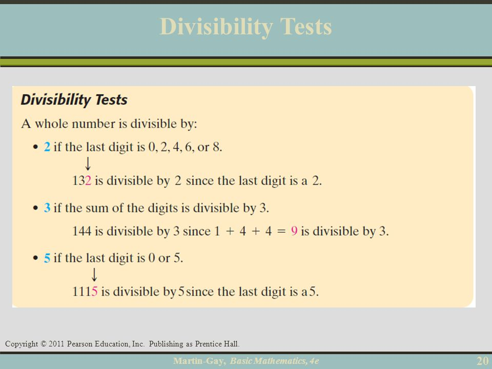 Divisibility Tests Objective A 20