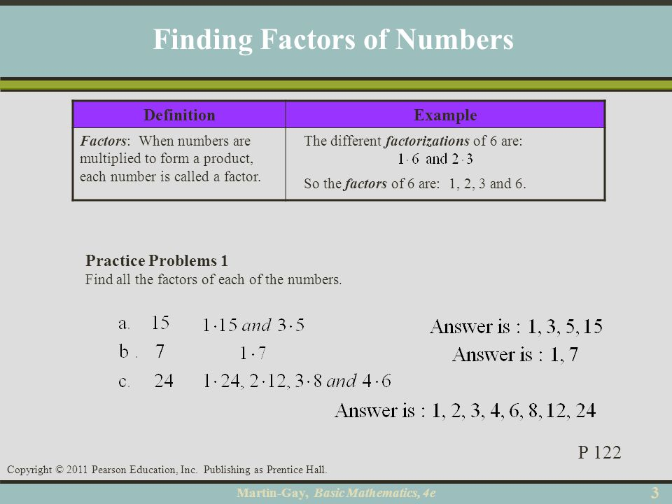 Finding Factors of Numbers