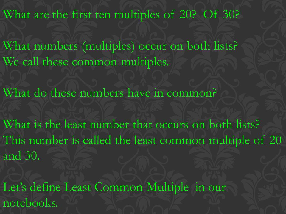 What are the first ten multiples of 20 Of 30