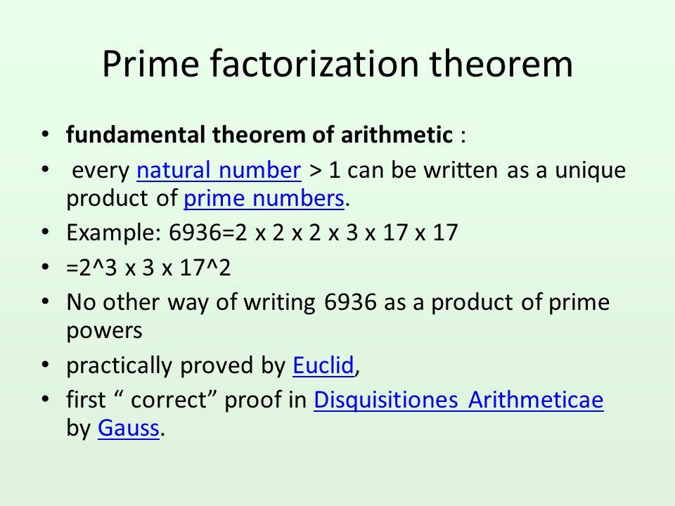 Prime factorization theorem