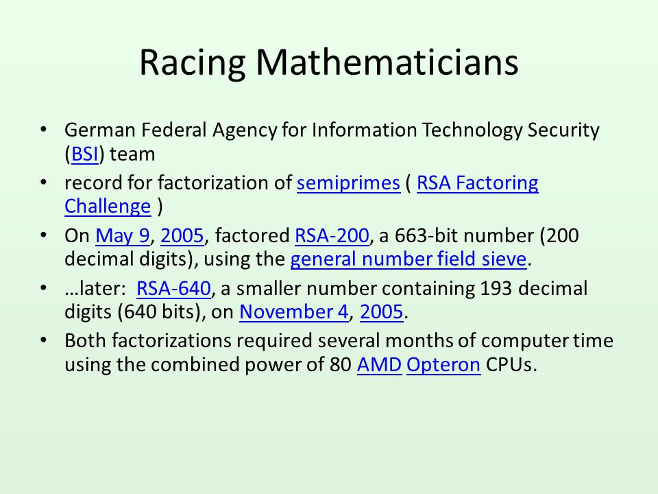 Racing Mathematicians