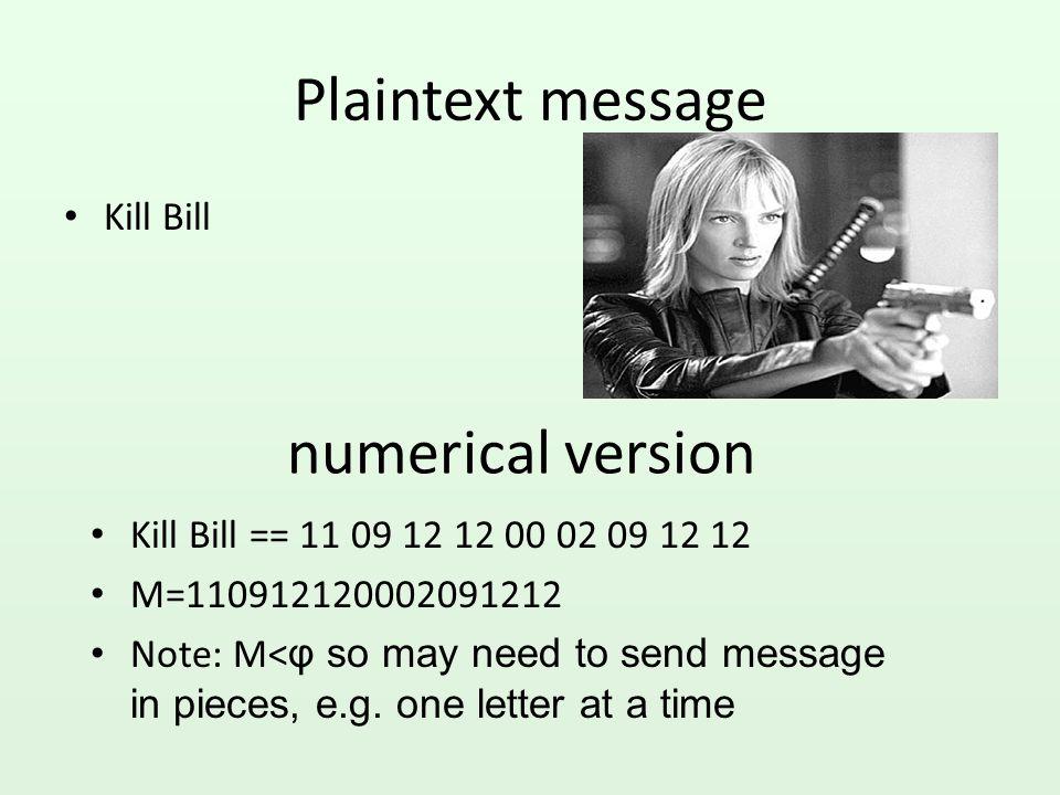 Plaintext message numerical version Kill Bill