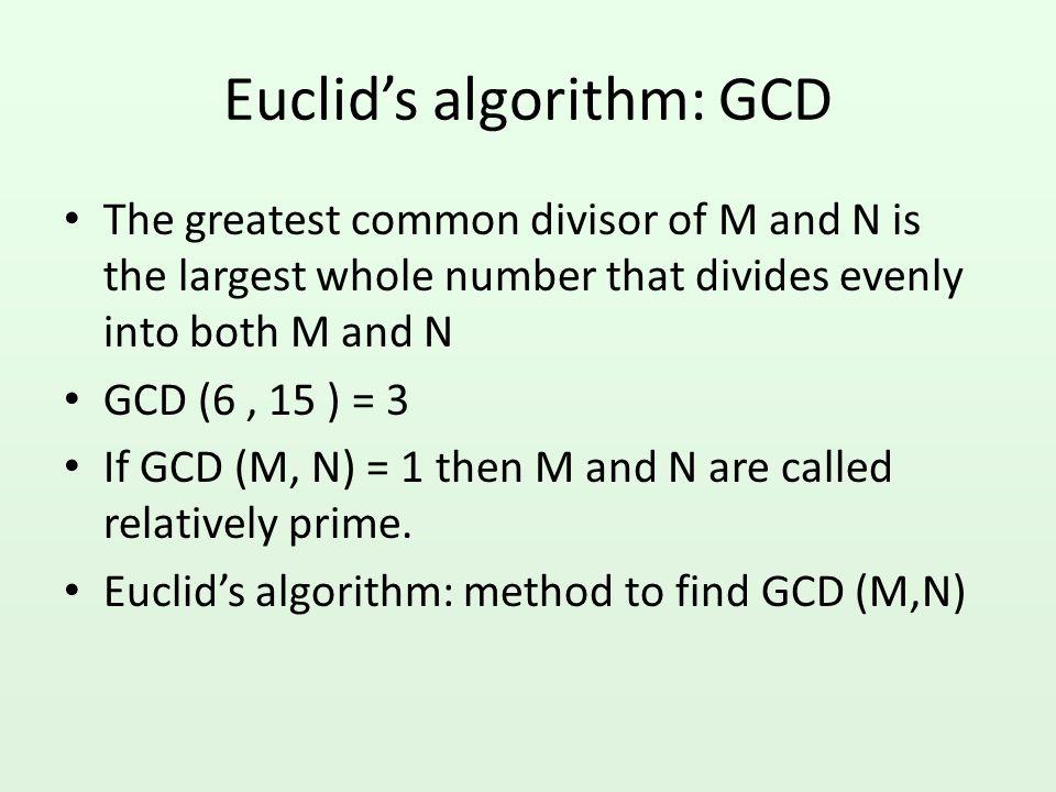 Euclid's algorithm: GCD