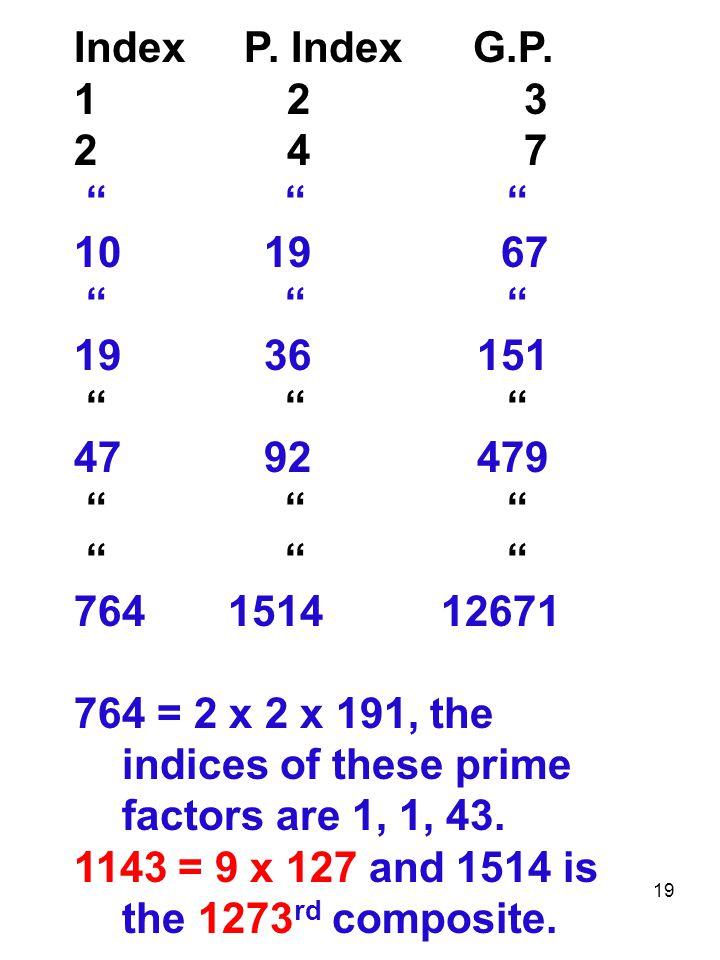 Index P. Index G.P. 1 2 3. 2 4 7.