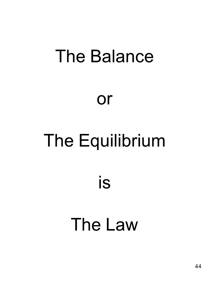 The Balance or The Equilibrium is The Law