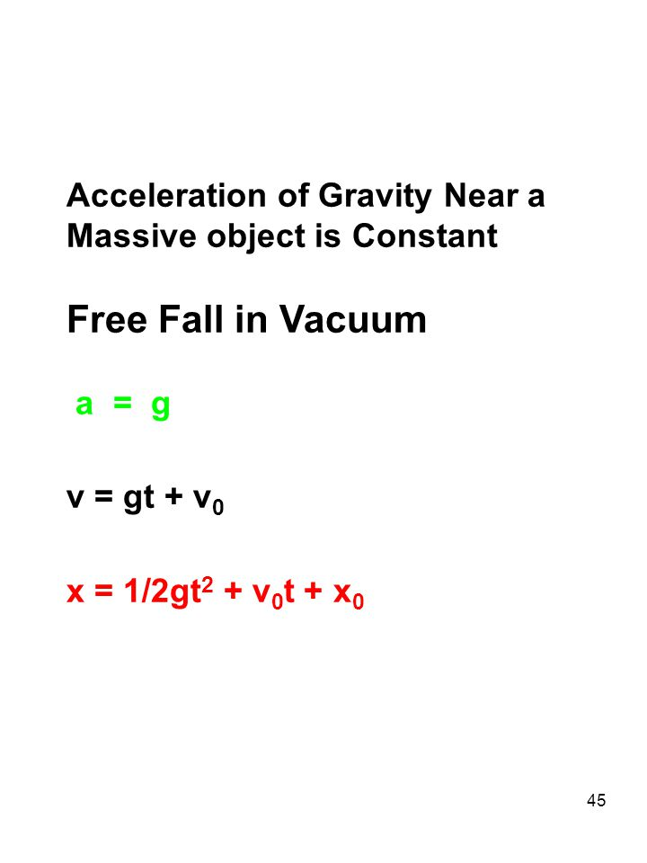 Free Fall in Vacuum Acceleration of Gravity Near a