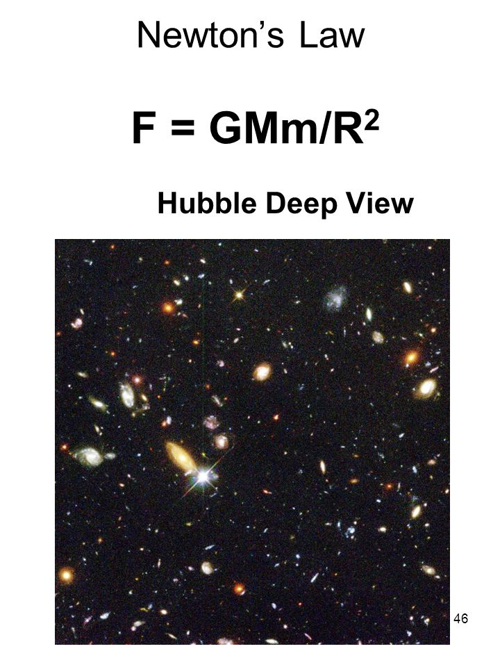 Newton's Law F = GMm/R2 Hubble Deep View