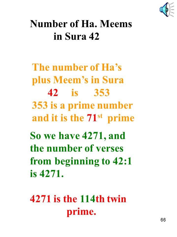 Number of Ha. Meems in Sura 42. The number of Ha's. plus Meem's in Sura. 42 is 353. 353 is a prime number.
