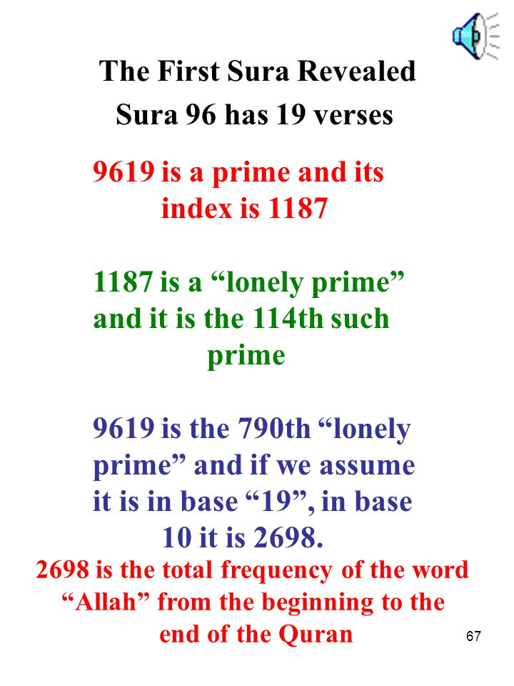 The First Sura Revealed Sura 96 has 19 verses