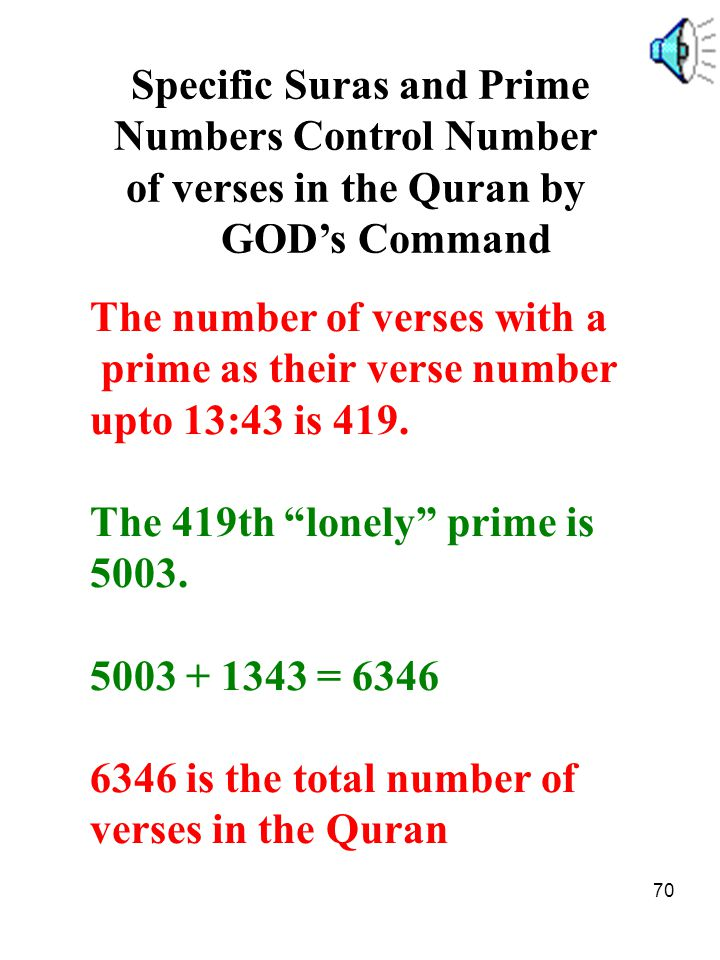 Specific Suras and Prime Numbers Control Number