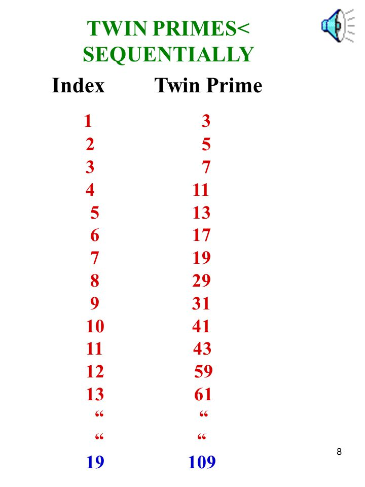 TWIN PRIMES< SEQUENTIALLY
