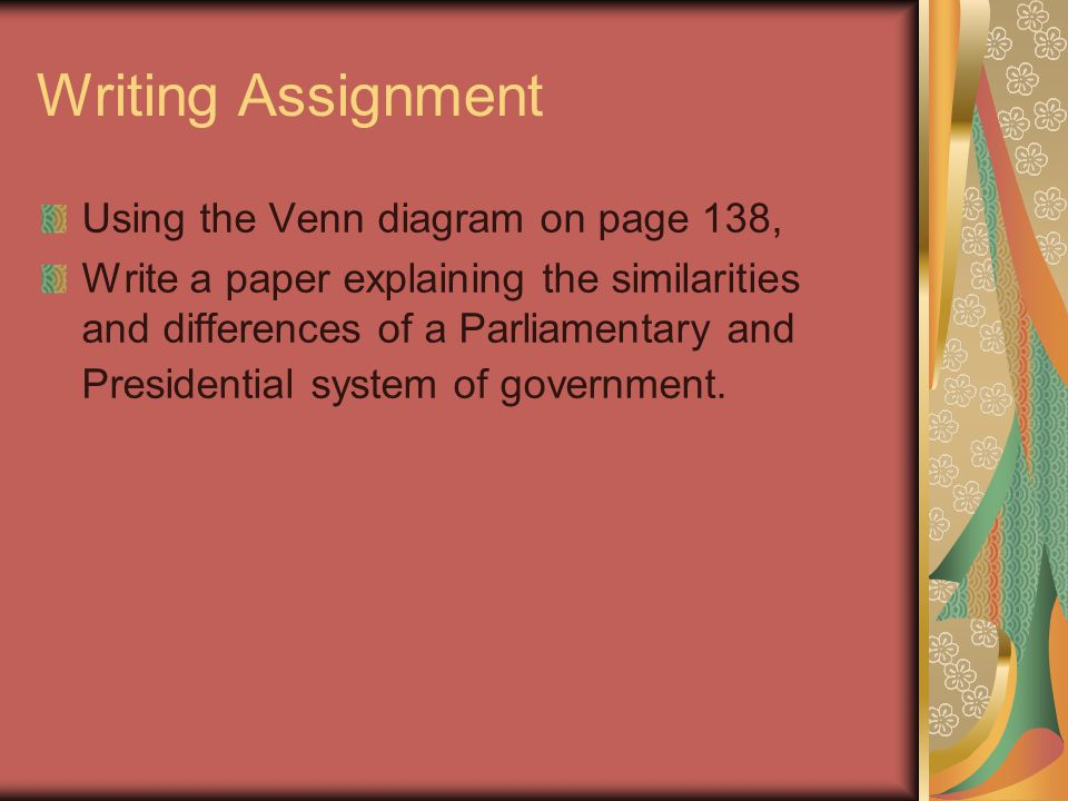 Writing Assignment Using the Venn diagram on page 138,