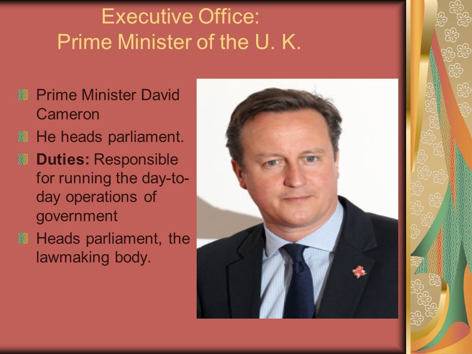 Executive Office: Prime Minister of the U. K.