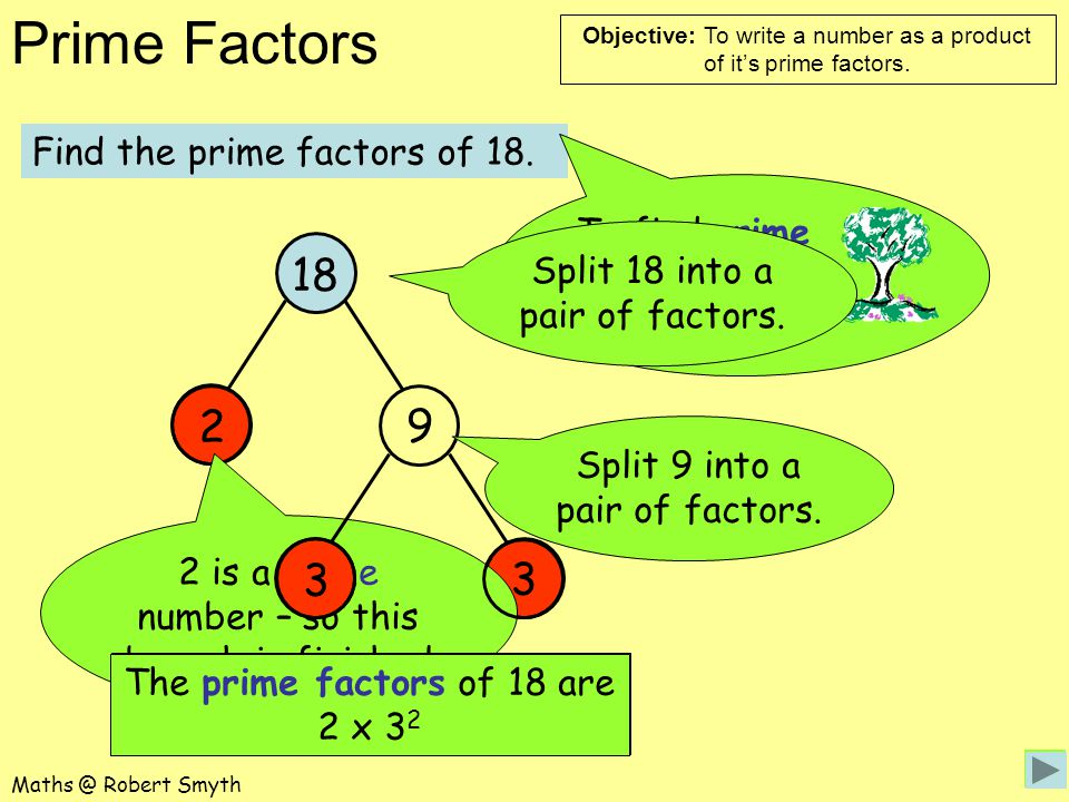 18 2 9 3 3 Find the prime factors of 18.