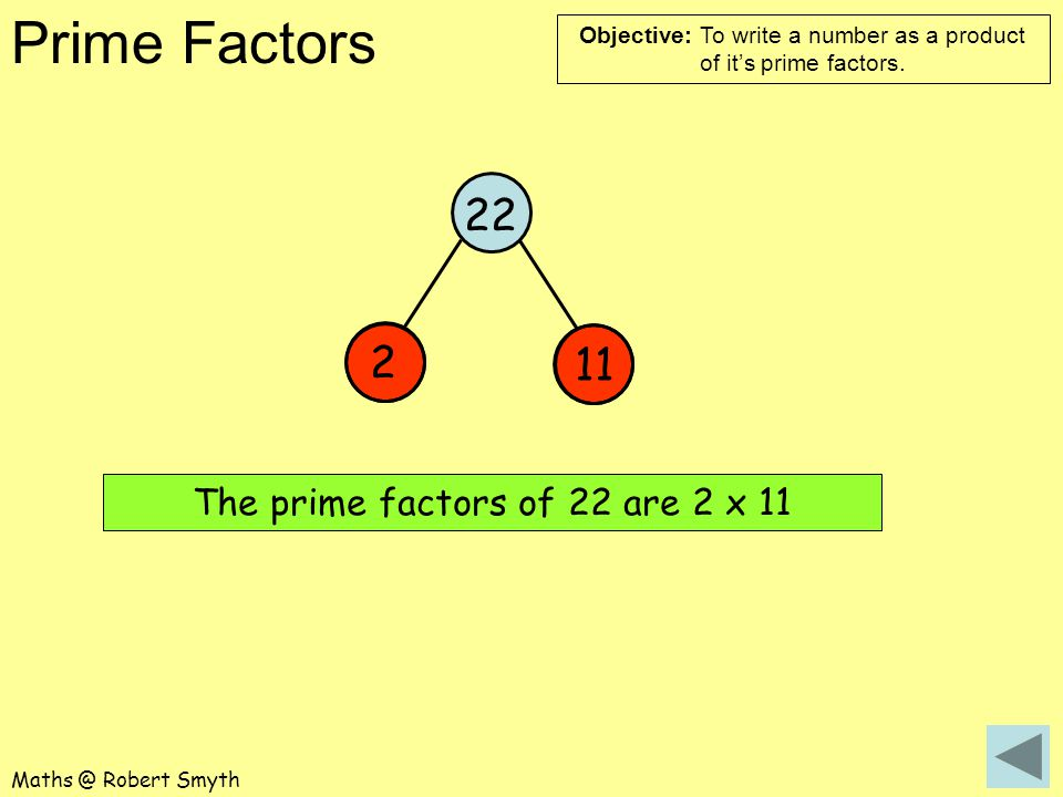 The prime factors of 22 are 2 x 11