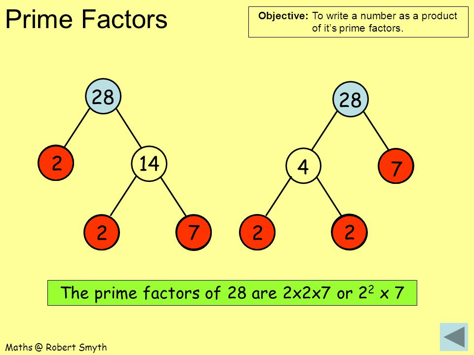 The prime factors of 28 are 2x2x7 or 22 x 7