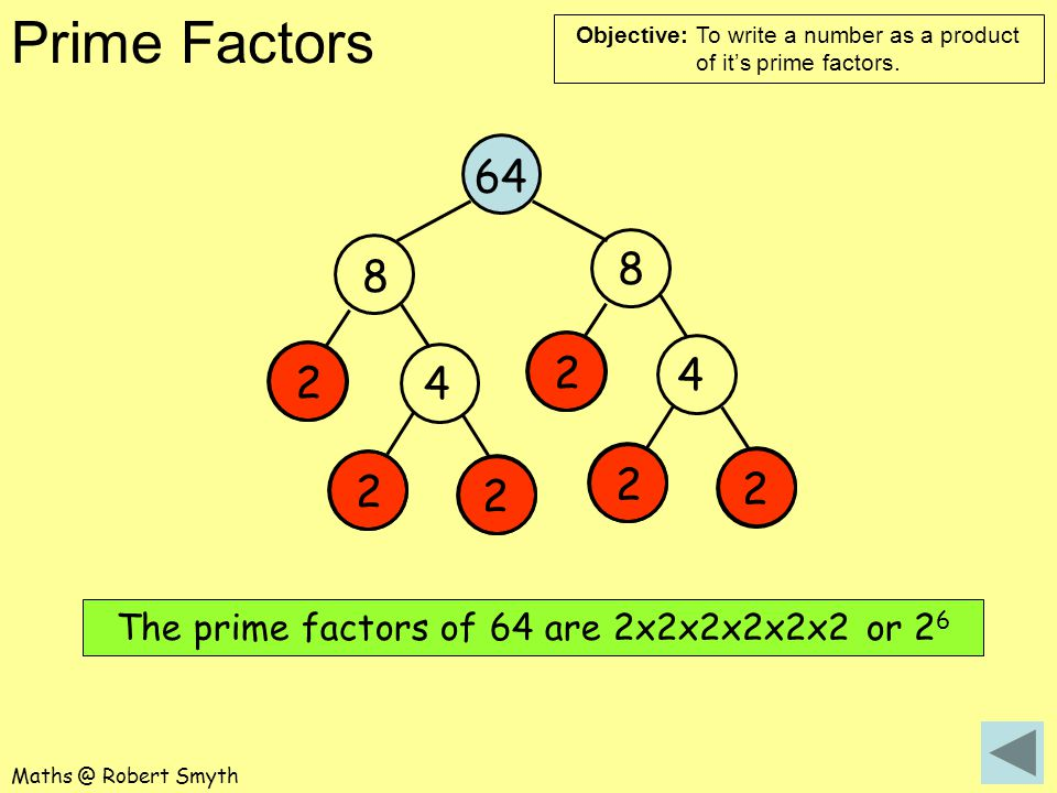 The prime factors of 64 are 2x2x2x2x2x2 or 26