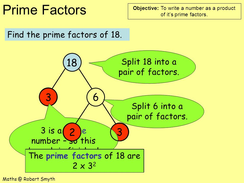 18 3 6 2 3 Find the prime factors of 18.