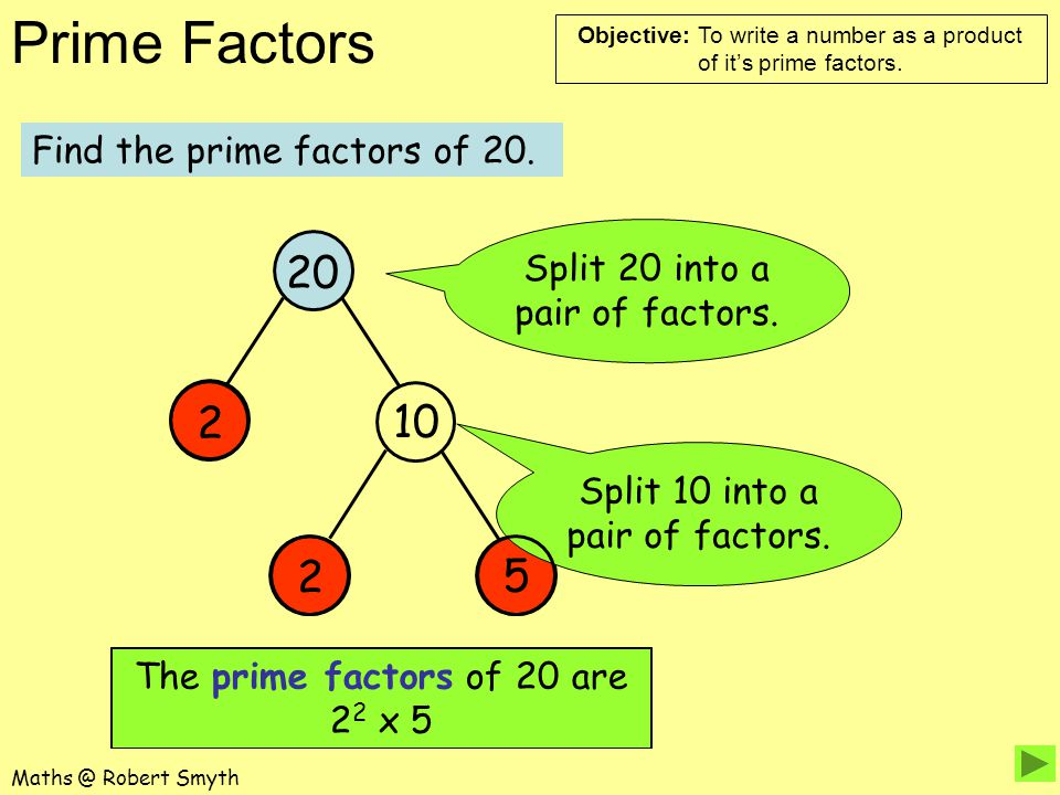 20 2 10 2 5 Find the prime factors of 20.