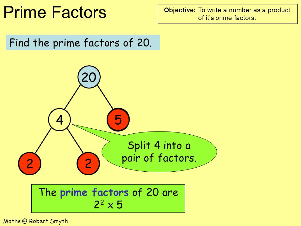 20 4 5 2 2 Find the prime factors of 20.