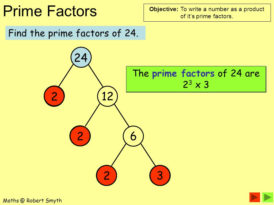 24 2 12 2 6 2 3 Find the prime factors of 24.
