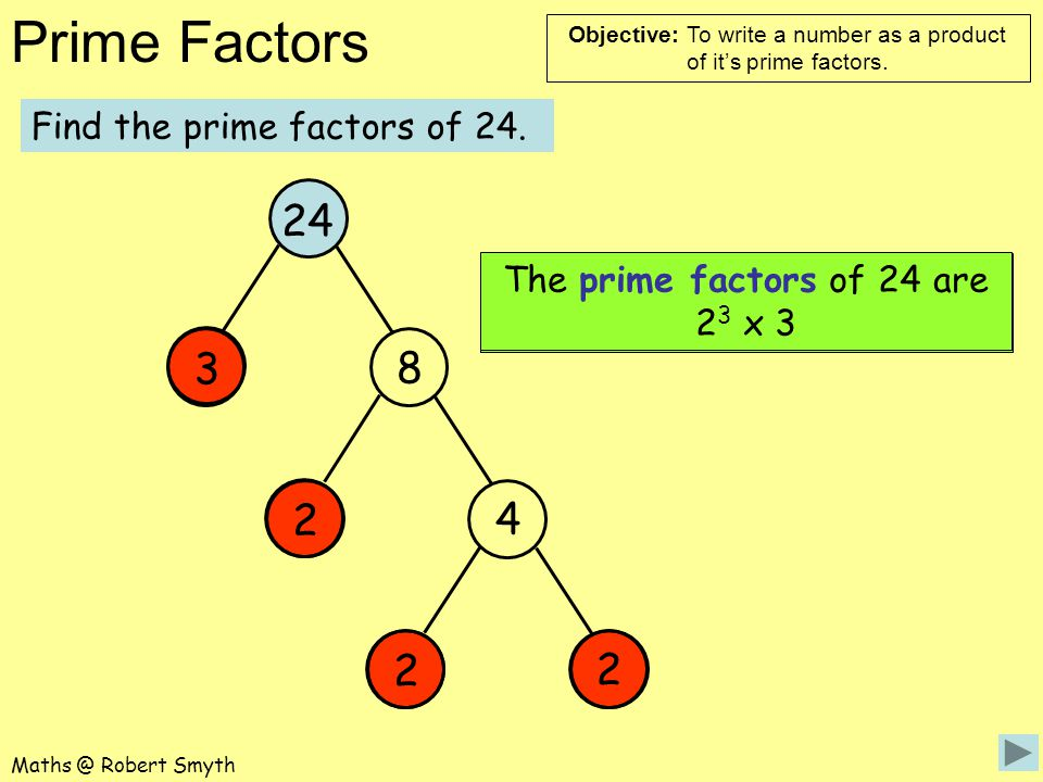 24 3 8 2 4 2 2 Find the prime factors of 24.