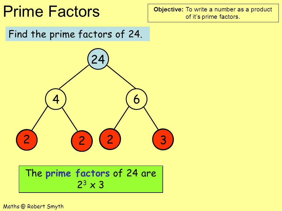 24 4 6 2 2 2 3 Find the prime factors of 24.