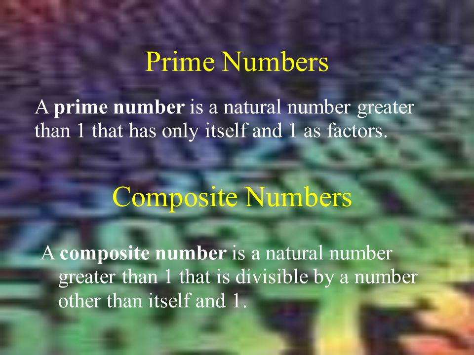 Prime Numbers Composite Numbers