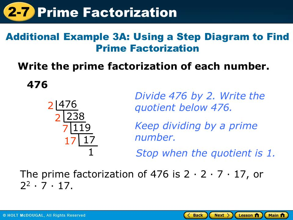 Additional Example 3A: Using a Step Diagram to Find Prime Factorization