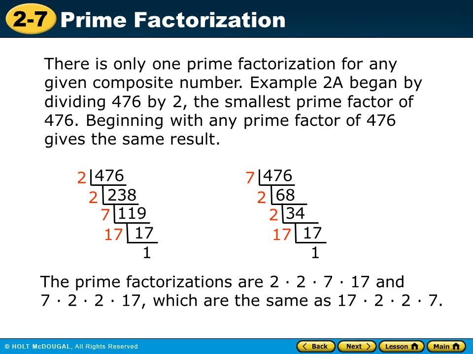 There is only one prime factorization for any given composite number