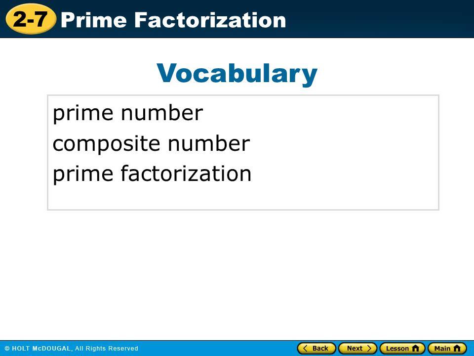 Vocabulary prime number composite number prime factorization