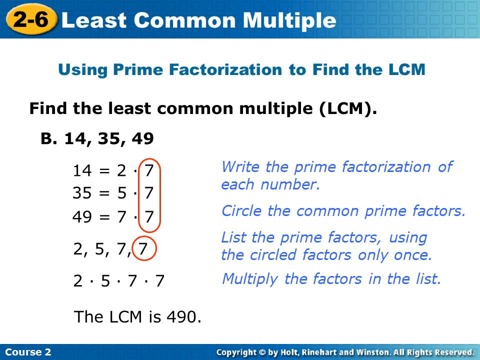 Using Prime Factorization to Find the LCM